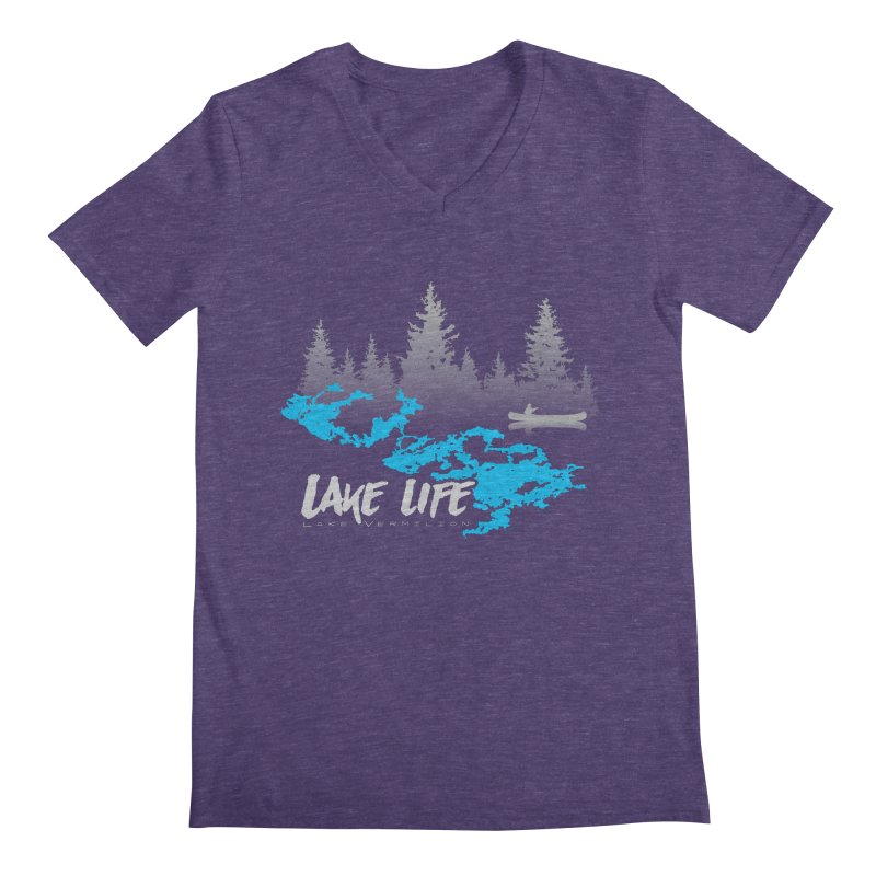 Lake Vermilion | Lake Life | Light Lettering Men's Regular V-Neck by Your Lake Apparel & Accessories