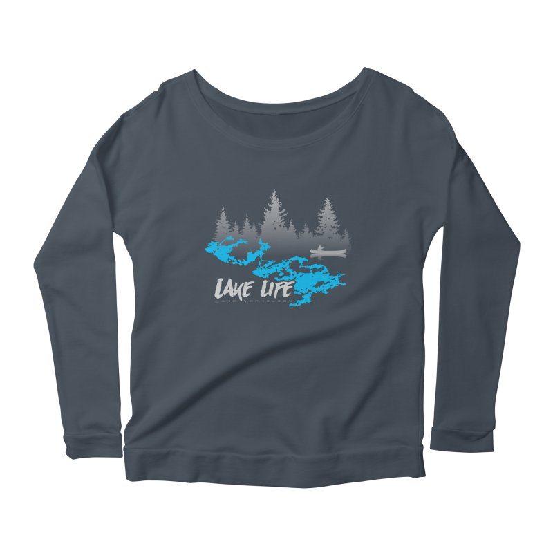 Lake Vermilion | Lake Life | Light Lettering Women's Scoop Neck Longsleeve T-Shirt by Your Lake Apparel & Accessories