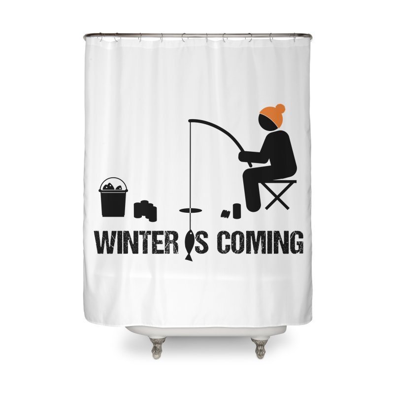 Winter is Coming | Dark Lettering Home Shower Curtain by Your Lake Apparel & Accessories