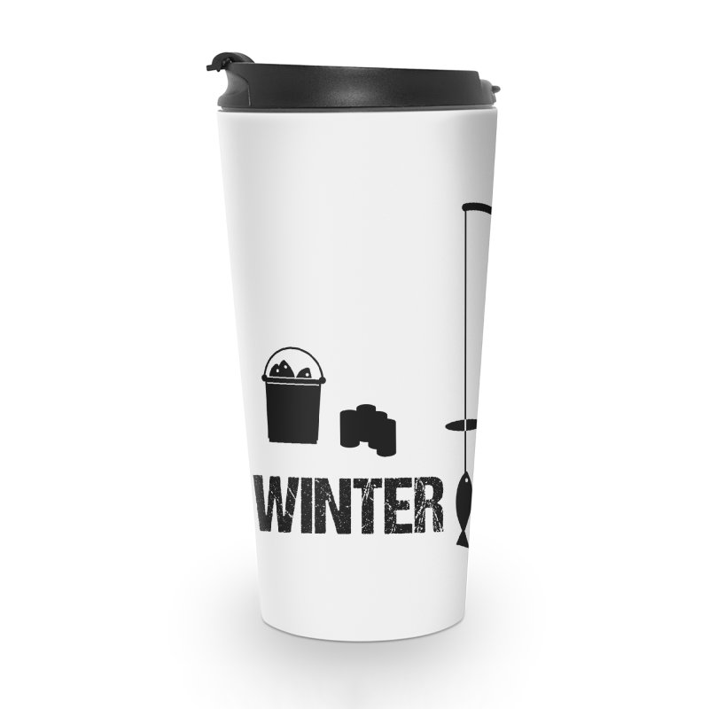 Winter is Coming | Dark Lettering Accessories Travel Mug by Your Lake Apparel & Accessories