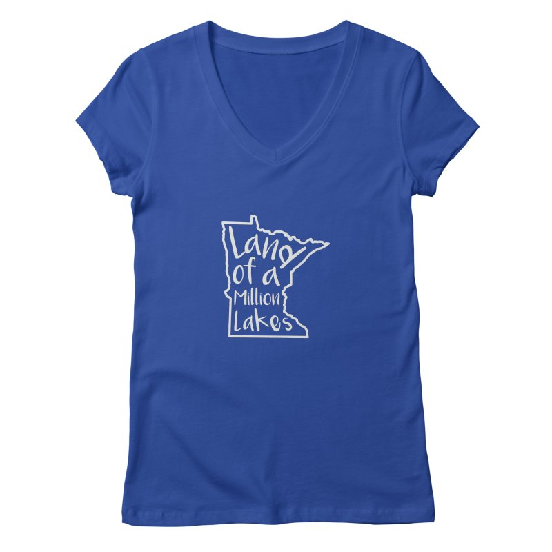Minnesota Land of a Million Lakes 02 Women's Regular V-Neck by Your Lake Apparel & Accessories