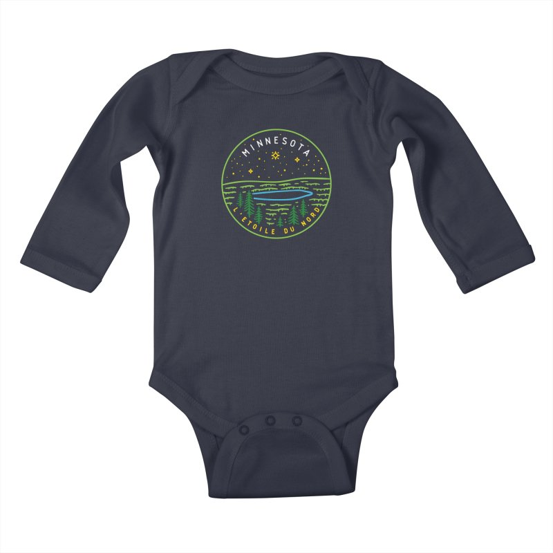 Minnesota - The North Star Kids Baby Longsleeve Bodysuit by Your Lake Apparel & Accessories
