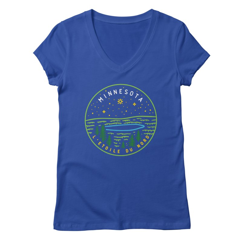 Minnesota - The North Star Women's Regular V-Neck by Your Lake Apparel & Accessories