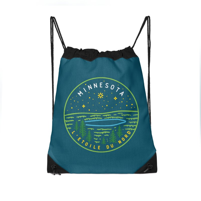 Minnesota - The North Star Accessories Drawstring Bag Bag by Your Lake Apparel & Accessories