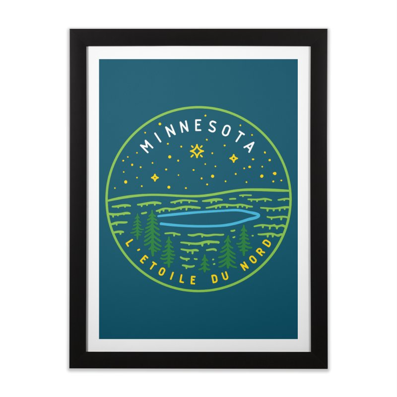 Minnesota - The North Star Home Framed Fine Art Print by Your Lake Apparel & Accessories