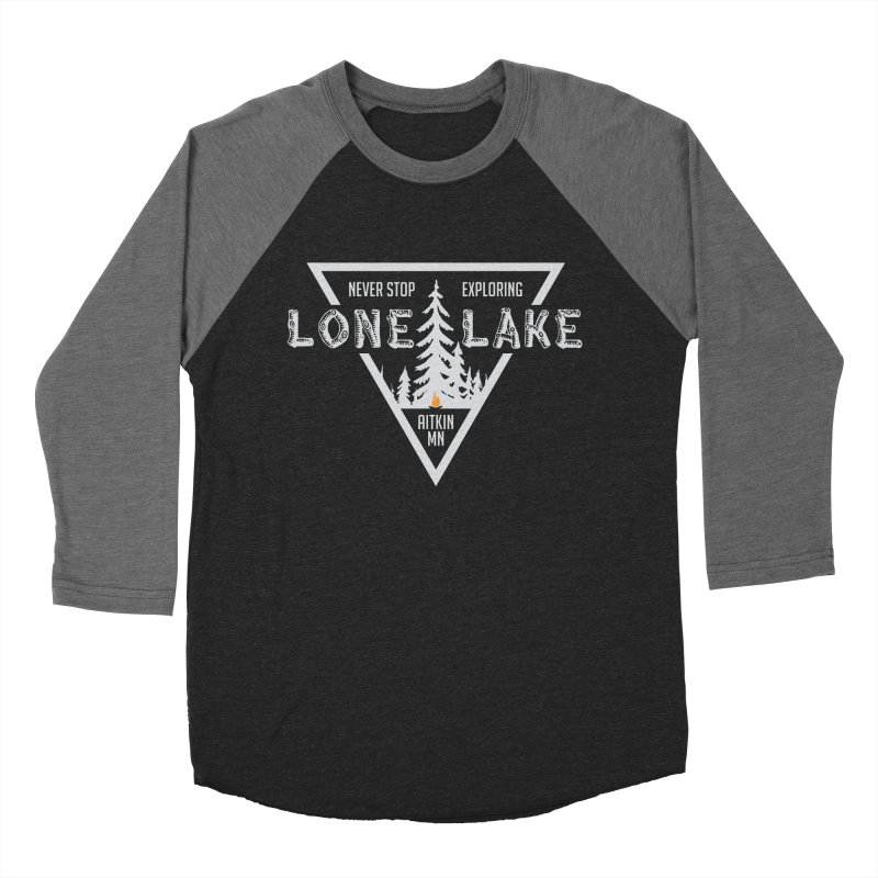 Lone Lake, MN | Lighter Print Men's Baseball Triblend Longsleeve T-Shirt by Your Lake Apparel & Accessories