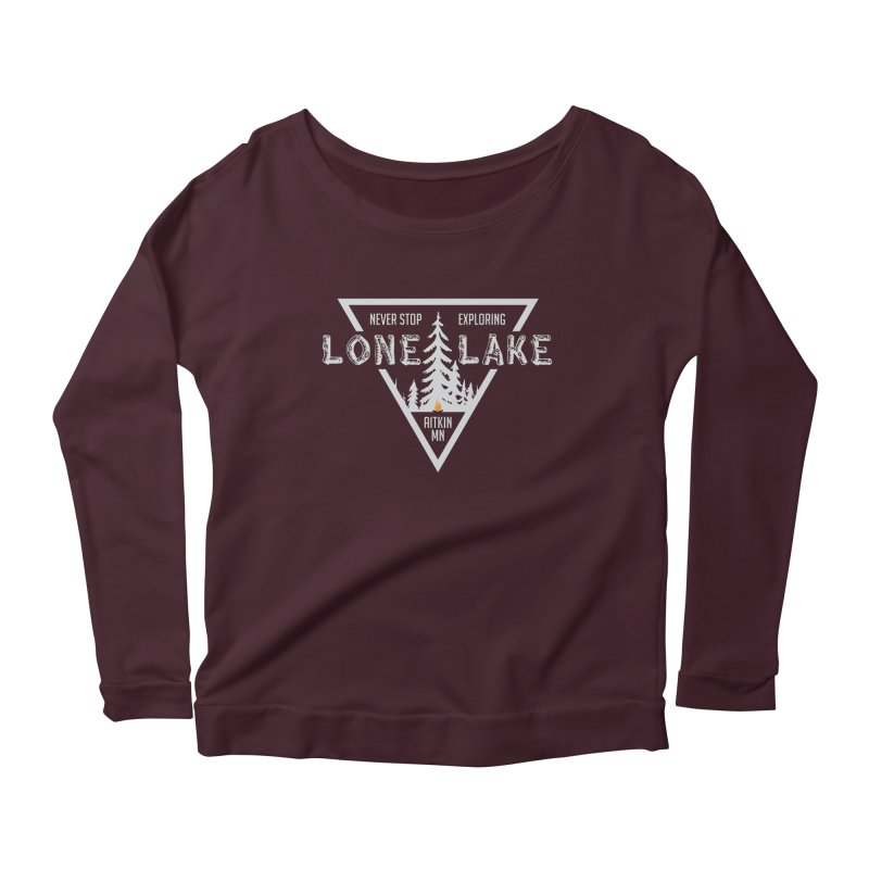 Lone Lake, MN | Lighter Print Women's Scoop Neck Longsleeve T-Shirt by Your Lake Apparel & Accessories
