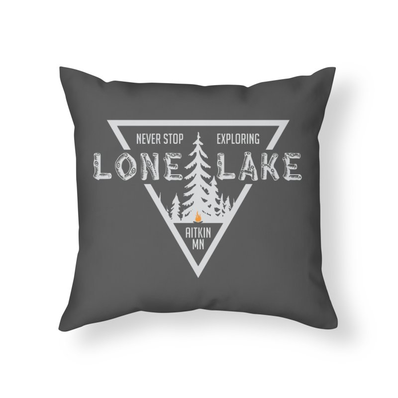 Lone Lake, MN | Lighter Print Home Throw Pillow by Your Lake Apparel & Accessories