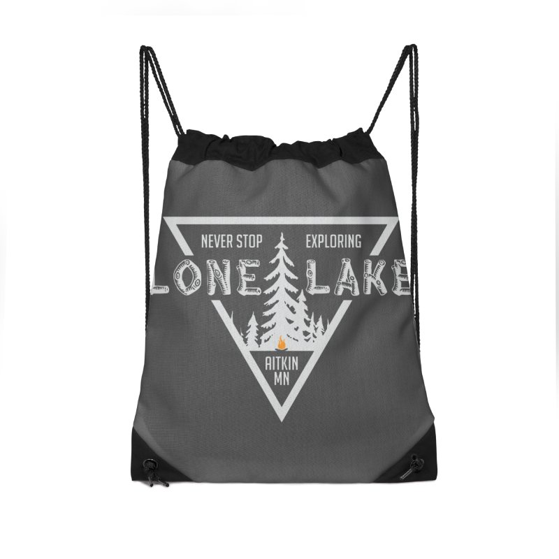 Lone Lake, MN | Lighter Print Accessories Drawstring Bag Bag by Your Lake Apparel & Accessories