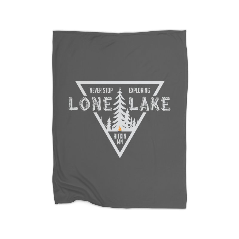 Lone Lake, MN | Lighter Print Home Fleece Blanket Blanket by Your Lake Apparel & Accessories