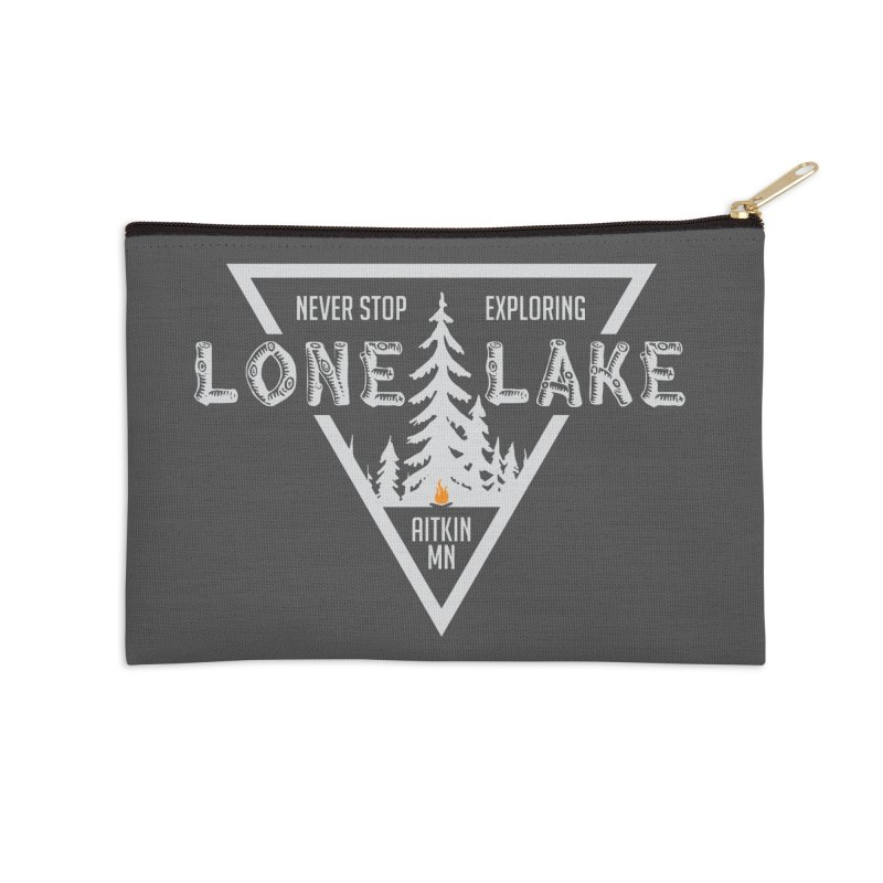 Lone Lake, MN | Lighter Print Accessories Zip Pouch by Your Lake Apparel & Accessories