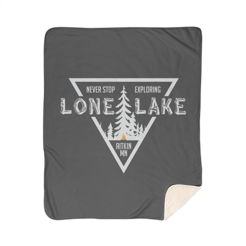 Lone Lake, MN | Lighter Print Home Sherpa Blanket Blanket by Your Lake Apparel & Accessories