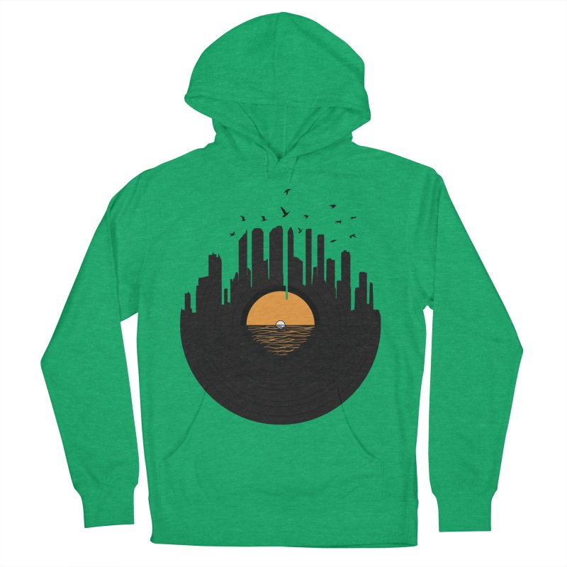 Vinyl City Men's French Terry Pullover Hoody by yurilobo's Artist Shop