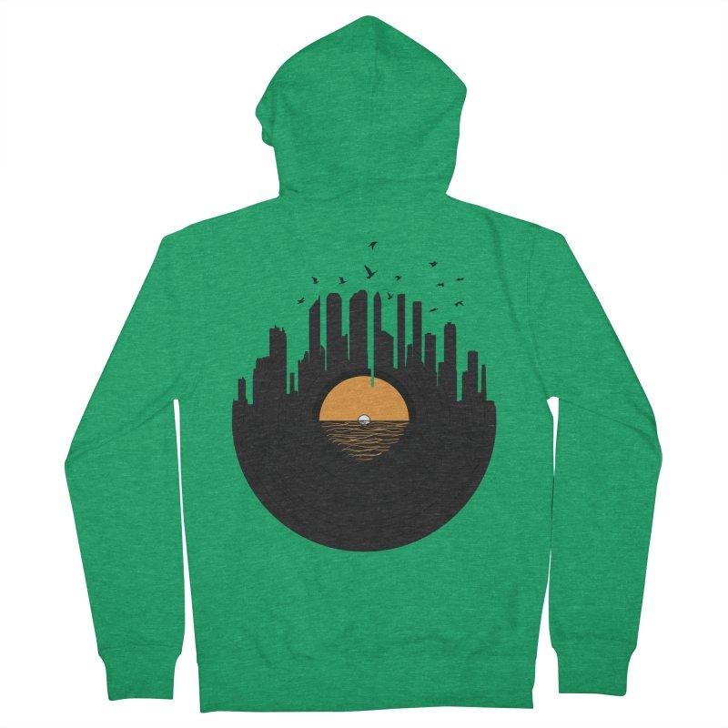 Vinyl City Men's French Terry Zip-Up Hoody by yurilobo's Artist Shop