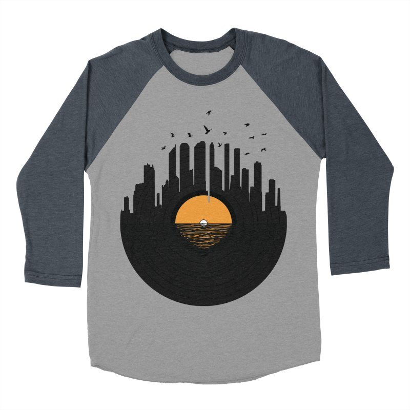 Vinyl City Men's Baseball Triblend T-Shirt by yurilobo's Artist Shop