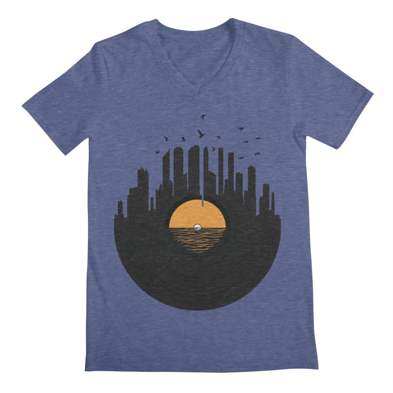 Vinyl City Men's V-Neck by yurilobo's Artist Shop