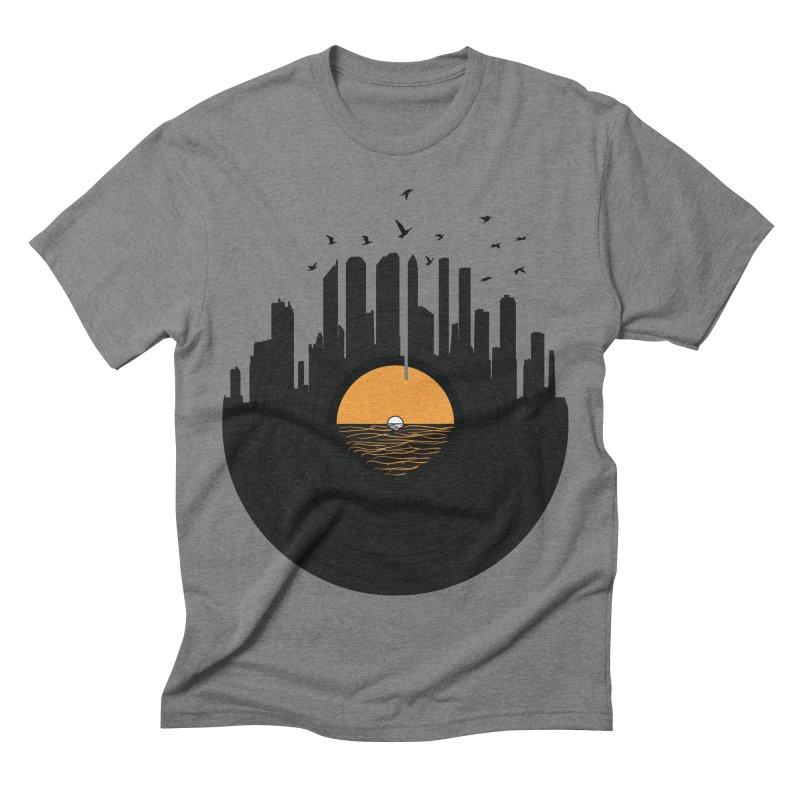 Vinyl City Men's Triblend T-shirt by yurilobo's Artist Shop