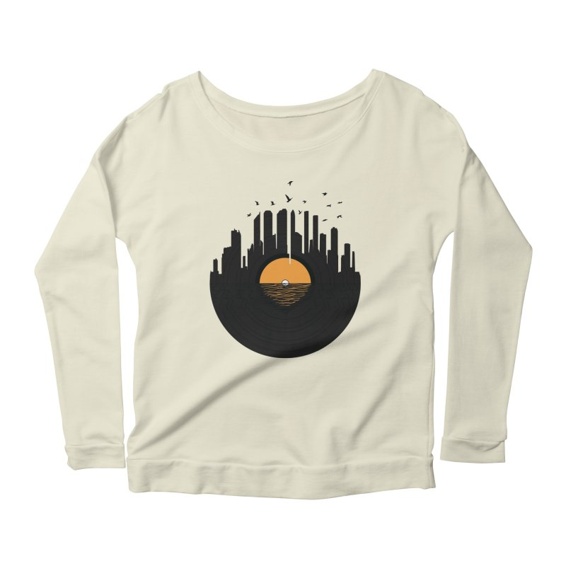 Vinyl City Women's Longsleeve Scoopneck  by yurilobo's Artist Shop
