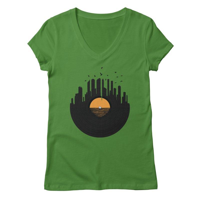 Vinyl City Women's V-Neck by yurilobo's Artist Shop