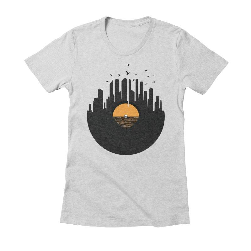 Vinyl City Women's Fitted T-Shirt by yurilobo's Artist Shop