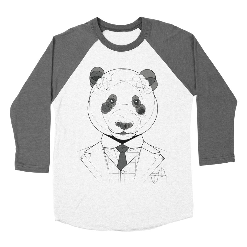 Geometric Panda Men's Baseball Triblend Longsleeve T-Shirt by yurilobo's Artist Shop