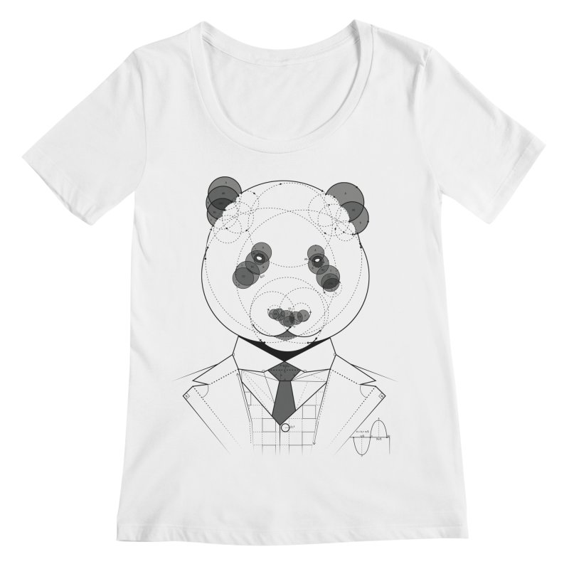 Geometric Panda Women's Scoopneck by yurilobo's Artist Shop