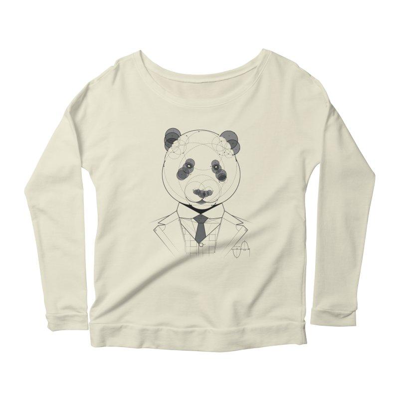 Geometric Panda Women's Longsleeve Scoopneck  by yurilobo's Artist Shop