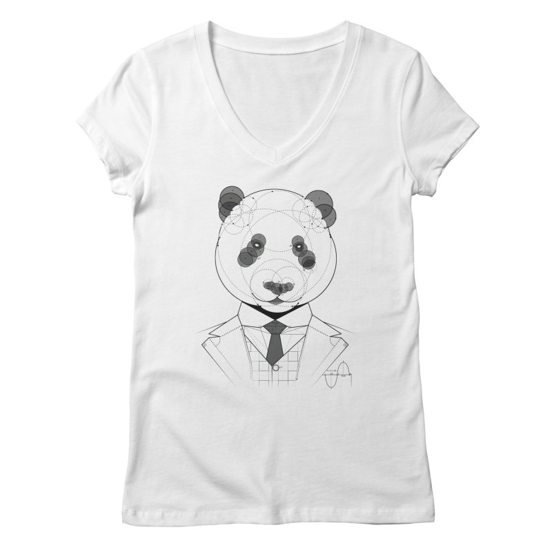 Geometric Panda Women's V-Neck by yurilobo's Artist Shop
