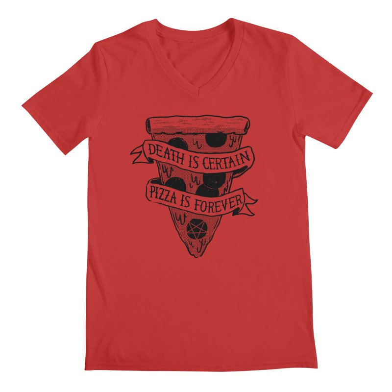 Pizza Is Forever Men's V-Neck by Zack Forer