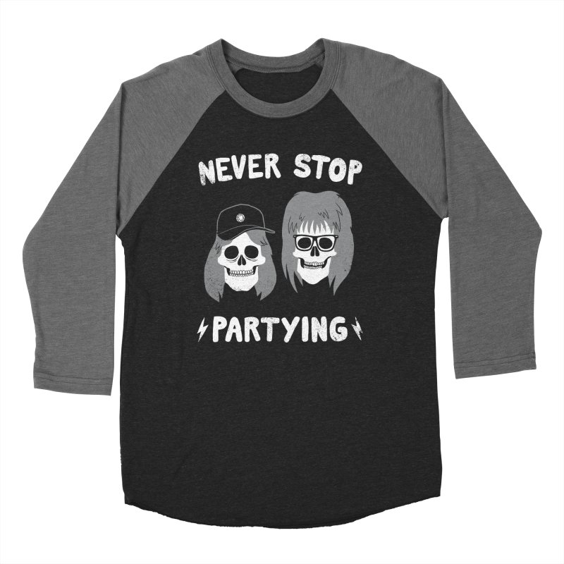 Never Stop Partying in Men's Baseball Triblend T-Shirt Grey Triblend Sleeves by Zack Forer