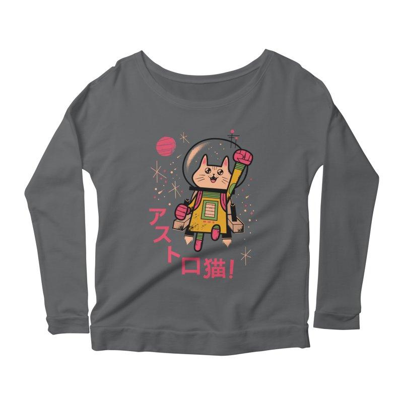 Go, Astrocat, Go! Women's Scoop Neck Longsleeve T-Shirt by Zack Forer