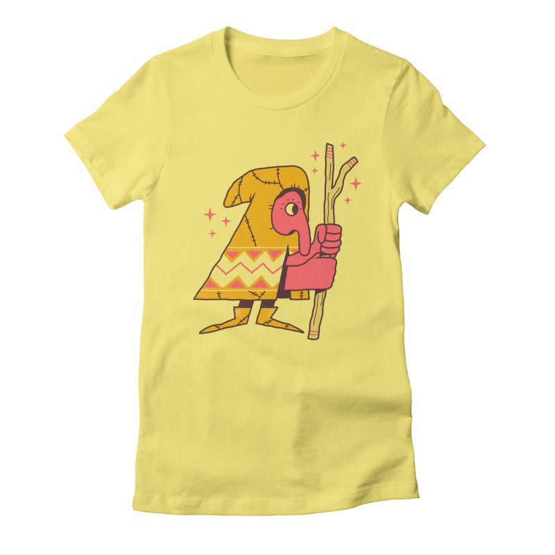 Magic Gnome in Women's Fitted T-Shirt Light Yellow by Zack Forer