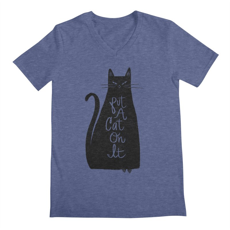 Trendy Cat Graphic Tee Men's V-Neck by Zack Forer