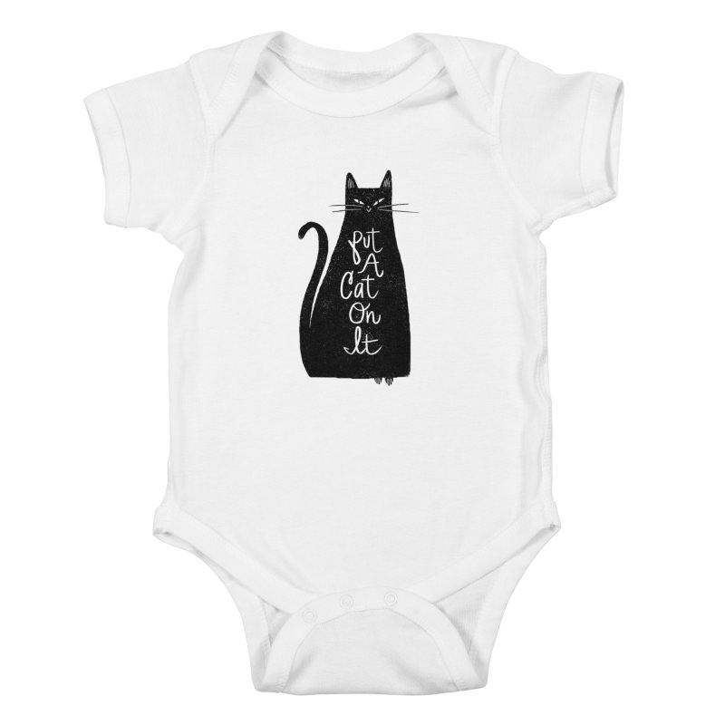 Trendy Cat Graphic Tee Kids Baby Bodysuit by Zack Forer