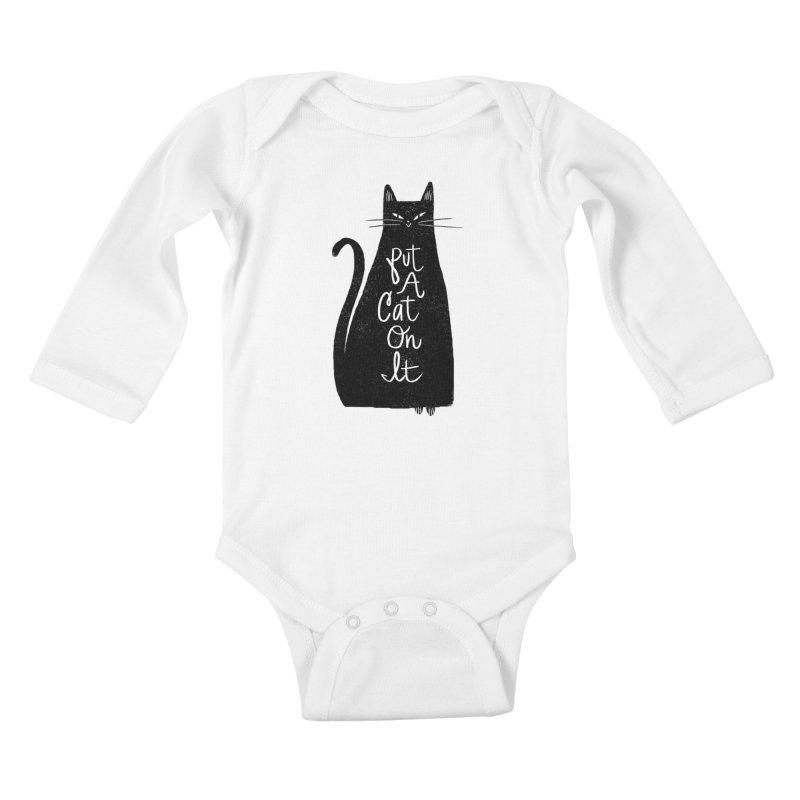 Trendy Cat Graphic Tee Kids Baby Longsleeve Bodysuit by Zack Forer