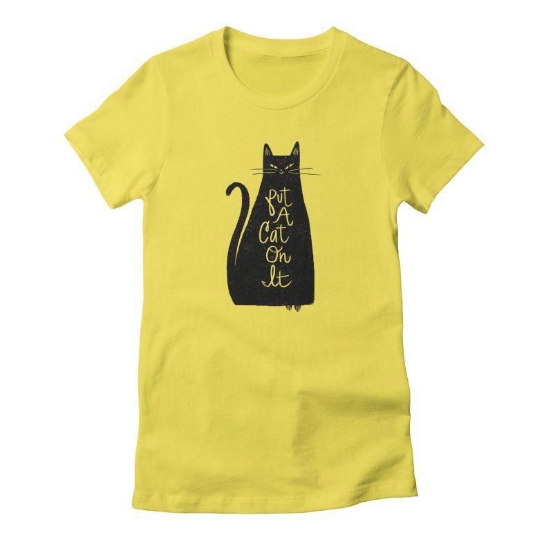 Trendy Cat Graphic Tee Women's French Terry Zip-Up Hoody by Zack Forer