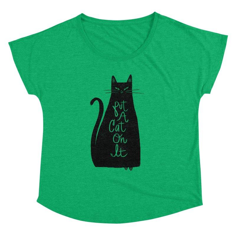 Trendy Cat Graphic Tee Women's Dolman by Zack Forer