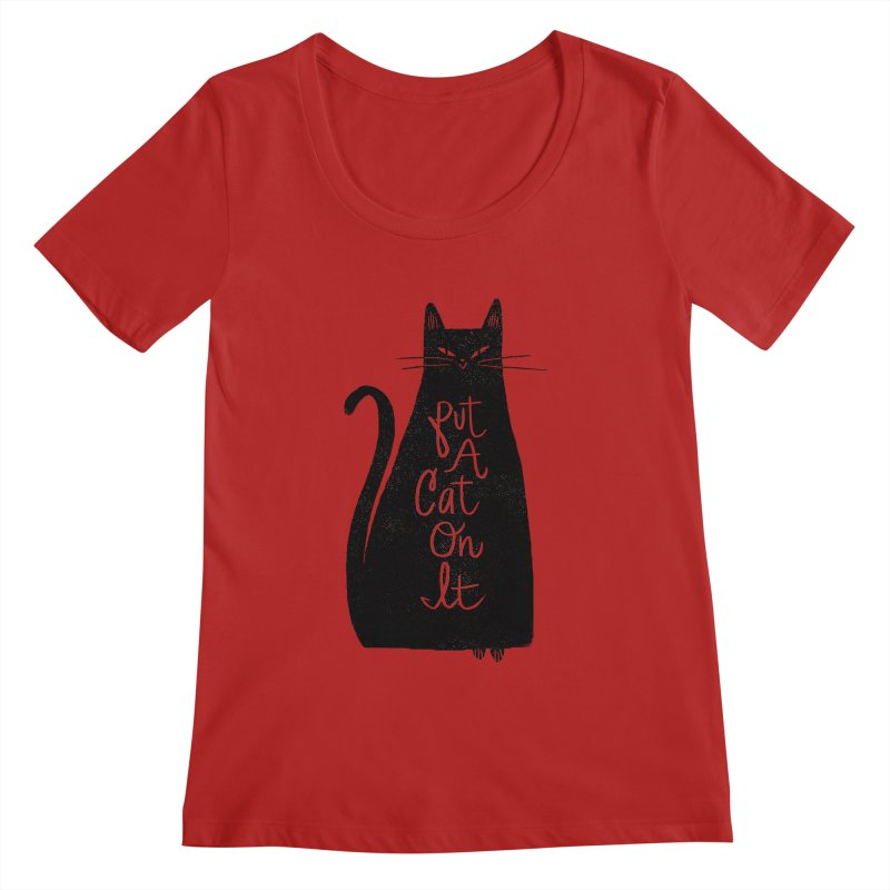 Trendy Cat Graphic Tee Women's Scoopneck by Zack Forer