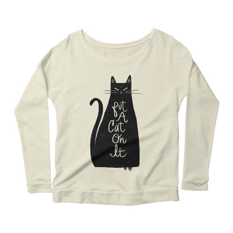 Trendy Cat Graphic Tee Women's Longsleeve Scoopneck  by Zack Forer