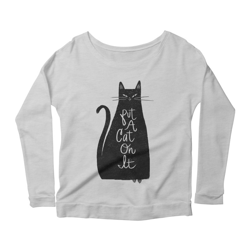 Trendy Cat Graphic Tee Women's Longsleeve Scoopneck  by Zack Forer
