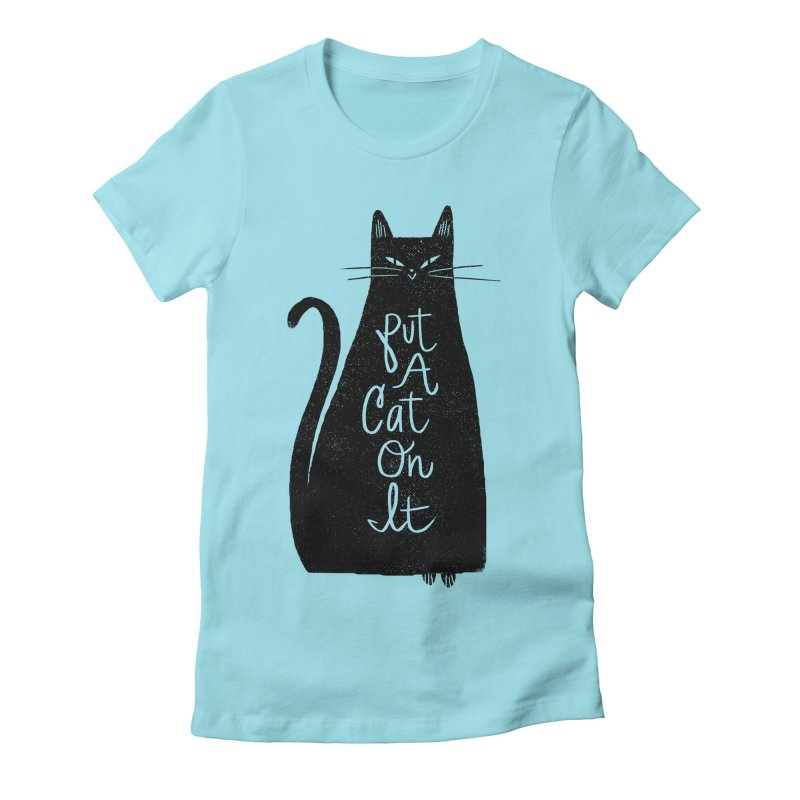 Trendy Cat Graphic Tee Women's Fitted T-Shirt by Zack Forer