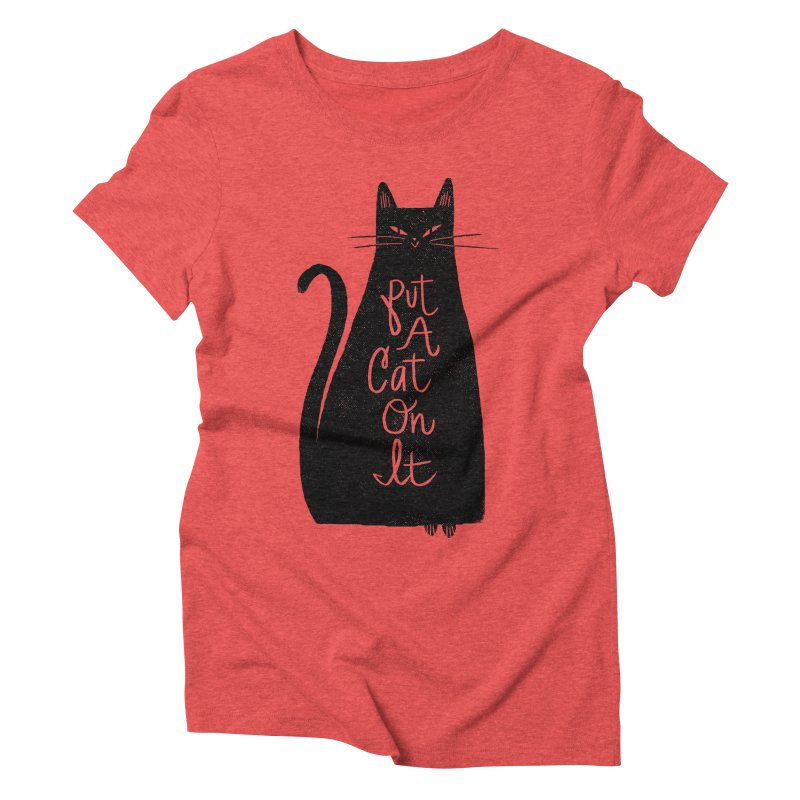 Trendy Cat Graphic Tee Women's Triblend T-Shirt by Zack Forer