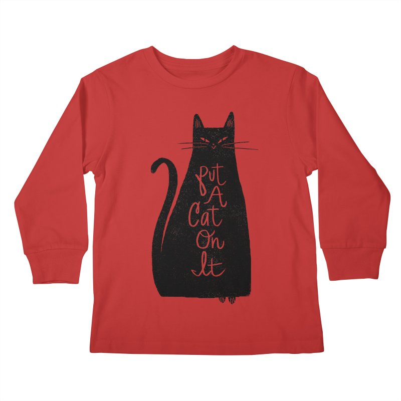 Trendy Cat Graphic Tee Kids Longsleeve T-Shirt by Zack Forer