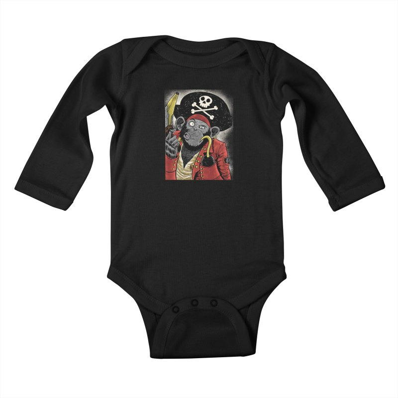 Captain Ook Ook Kids Baby Longsleeve Bodysuit by zakkinsella's Artist Shop