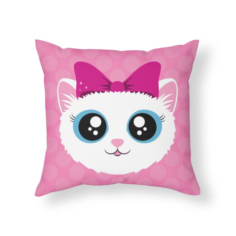 Kitty Girl Home Throw Pillow by Zammies