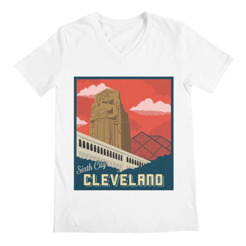 Vintage Cleveland Men's V-Neck by zavatee's Artist Shop