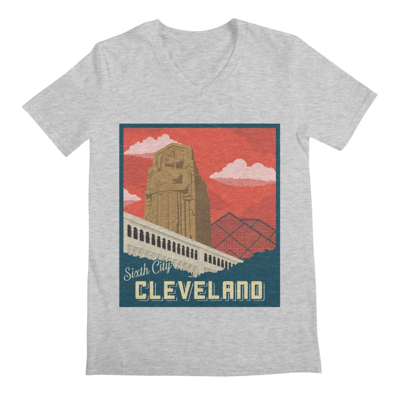 Vintage Cleveland Men's V-Neck by zavatee's Artist Shop