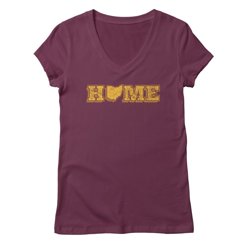 Home - Ohio (Gold) Women's V-Neck by zavatee's Artist Shop