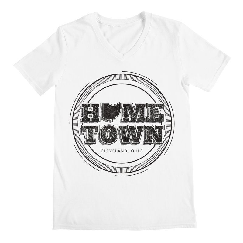 Hometown - Cleveland (Black) Men's Regular V-Neck by zavatee's Artist Shop