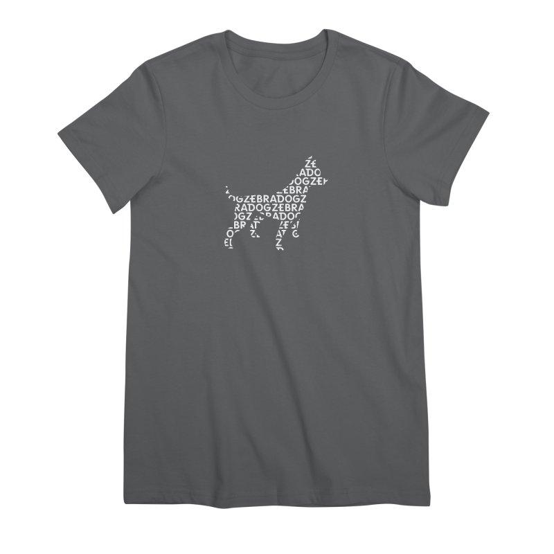 Alphabet Zoup White Women's Premium T-Shirt by Zebradog Apparel & Accessories